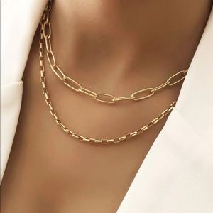 Gold Paperclip link double layer Necklace